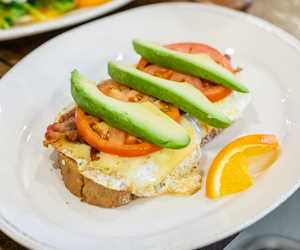 egg, tomato and avocado on toast